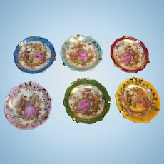 Rare Set of 6 Limoges France Miniature Plate Doll or Dollhouse Accessory