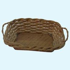 Laundry Wicker Basket Wood Base Vintage German Dollhouse