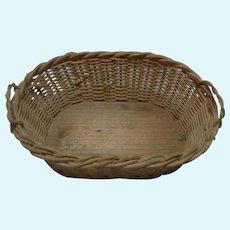 Laundry Wicker Basket Wood Base Vintage German Doll or Dollhouse
