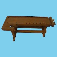 Vintage German Doll or Dollhouse Wood Carpenter Workbench