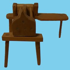 Vintage German Handmade Wood Dollhouse Flax Crusher