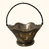 Vintage German WMF Silver Plated Basket with Glass