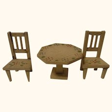 Small Vintage German Wood Dollhouse Octagon Table Two Chair