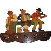 Vintage German Painted Wood Fretwork Keyboard Key Rack 3 Musician