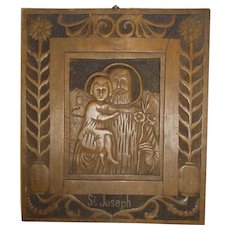 Antique 1829 German Carved Wood Picture St. Joseph Icon