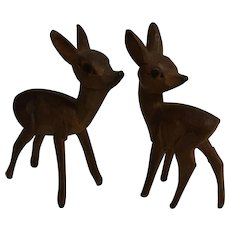 2 Vintage German Black Forest Carved Wood Deer