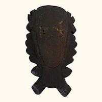 Vintage German Black Forest Carved Wood Trophy Plaque for Taxidermy