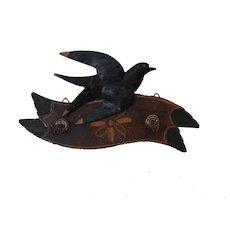 Vintage German Black Forest Carved Wood Swallow Key Rack