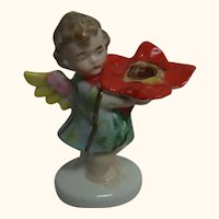 Vintage German Porcelain Angel with Flower Candle Holder ca.1910's