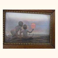 "Vintage German Child Print with Oak Frame "" Goodnight Mrs Sun """