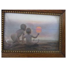 "Vintage German Child Print with Oak Frame "" Goodnight Mrs Sun """