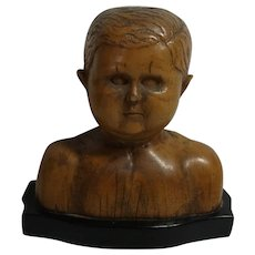 Antique 1840s German Carved Wood Child Bust on Ebonized Wood Base