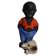 Old German Hand Painted Black Boy with Dog #AL1