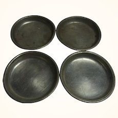 4 Antique German Dollhouse Pewter Plate