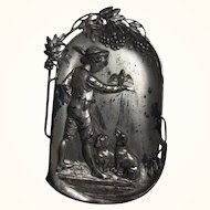 WMF German Wall Plaque Boy with Falcon and Dachshund Silver Plated Pewter