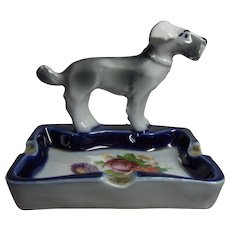 Vintage German China Terrier Dog Ashtray