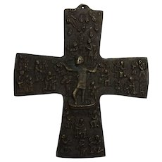 Vintage German Christianity Bronze Cross Egino Weinert God's Vineyard 1970
