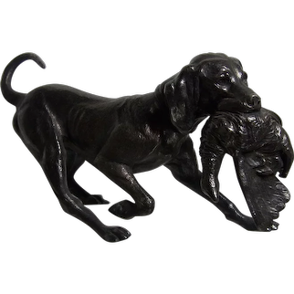 WMF Germany Art Nouveau Hunting Dog with Pheasant Silver Plated