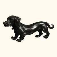 Old Vintage German Dachshund Silver Plated