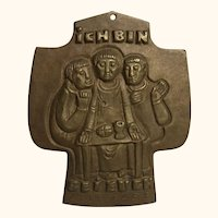 "Vintage German Christianity Bronze Cross Egino Weinert "" I am with You Every Day """