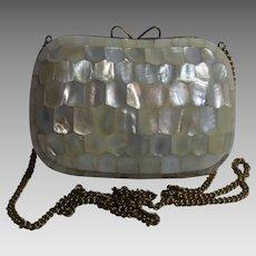 Vintage German Brass and Mother of Pearl Handbag