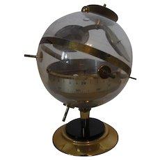 Mid Century Brass Sputnik Weather Station Barometer Thermometer
