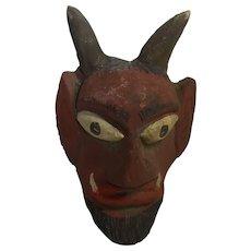 Vintage German Carved Wood Devil Puppets Head