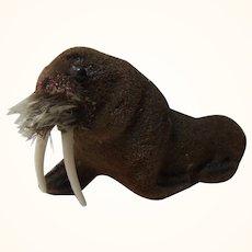 Vintage Wagner Kunstlerschutz Flocked Animals Walrus