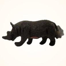 Vintage Wagner Kunstlerschutz Flocked Animals Rhino