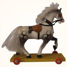 Vintage German Wood Pull Toy Horse