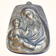 Vintage German Brass Wall Plaque Holy Mary with Child