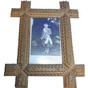 Antique German Tramp Art Picture Frame