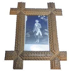 Antique German Tramp Art Picture Frame