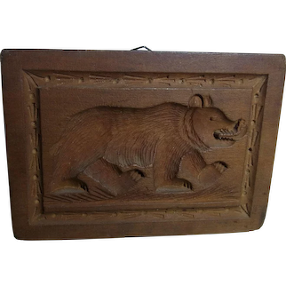 Antique Swiss BRIENZ Hand Carved Wood Black Forest Cookie Mold Bear