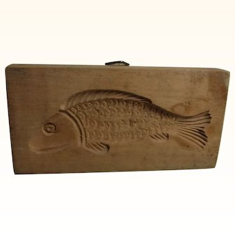 Old Vintage Swiss Hand Carved Wood Black Forest Cookie Mold Fish