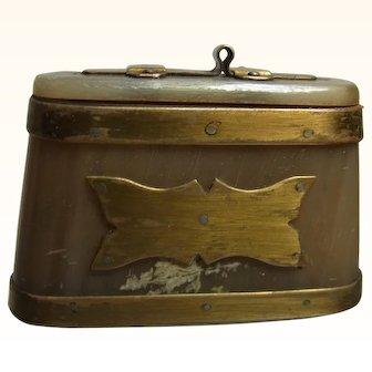Antique German Horn Snuff Box Bavarian Folk Art