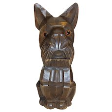 Vintage German Carved Wood Table Lighter Dog
