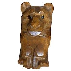 Vintage German Carved Wood Table Lighter Bear