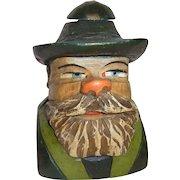 Vintage German Carved Wood Table Lighter Black Forest Man