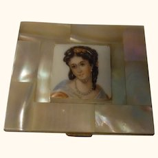 Brass Mother of Pearl and Painted Portrait on Porcelain Powder Compact