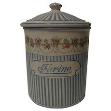 France Enamel Graniteware Canister Farine