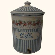 France Enamel Graniteware Canister Cafe