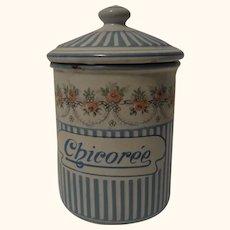 France Enamel Graniteware Canister Chicoree