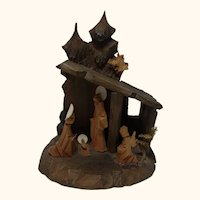 Small Wood Carved Christmas Nativity Scene