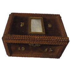 Antique German Tramp Art Box Trinket Box 1912