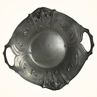 German Art Nouveau Candy Dish Pewter Tray with Floral Designs