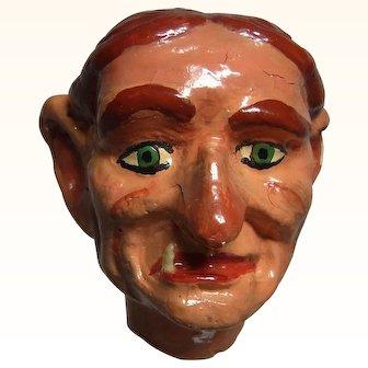Old Vintage Marionette Puppet Head Plaster Old  Women
