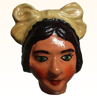 Old Vintage Marionette Puppet Head Plaster Kitchen Women