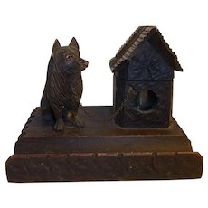 Antique German Carved Wood Inkwell Dog with Doghouse