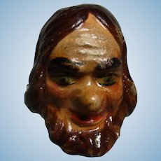 Old Vintage Marionette Puppet Head Plaster Bearded Man